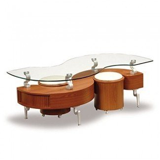 Mesa de centro con forma de S en forma de S de Global Furniture USA y 2 mini taburetes