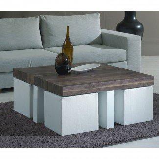 Mesa de centro con taburetes: me encanta esta idea para taburetes