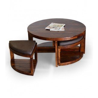 Mesa de centro: mesa de centro con taburetes debajo de café ...