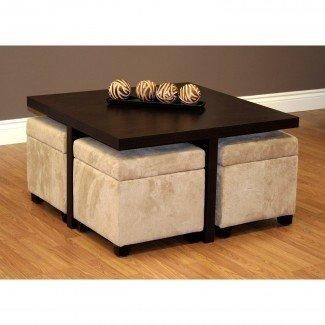 Muebles: mesa de centro de lujo con taburetes para sala de estar ...