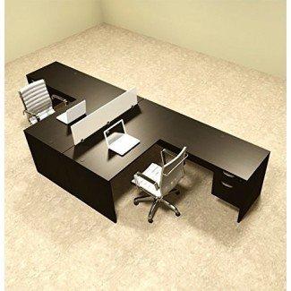 Juego de escritorio de estación de trabajo de oficina con divisor en forma de L para dos personas, # OT-SUL-FP40