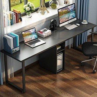"""LITTLE TREE 78 """"Escritorio doble extra grande para computadora de escritorio para dos personas, escritorio de oficina de estilo moderno simple con almacenamiento y gabinete Funciona como mesa de estudio o escritorio para oficina en el hogar"""
