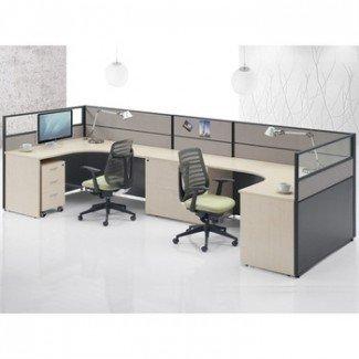 Estación de trabajo para 2 personas Escritorios de personal Oficina de diseño de muebles ...
