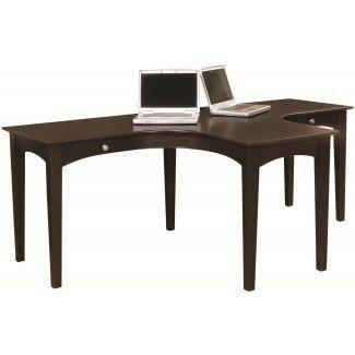 Imágenes pequeñas de mesa para dos personas. Escritorio para 2 personas con estantes