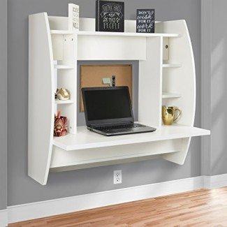 Best Choice Products Escritorio de computadora flotante de montaje en pared con estantes de almacenamiento Estación de trabajo doméstica - Blanco