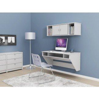 Elegante escritorio montado en la pared con almacenamiento y cabañas en azul
