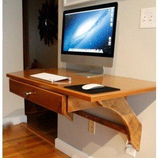 Escritorio de computadora de madera montado en la pared DIY con iMac y ...