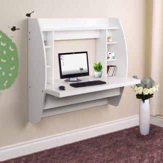Escritorio de computadora flotante montado en la pared con almacenaje para el hogar ...