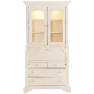 Muebles. Secretaria alta y blanca con puerta de vidrio de conejera ...