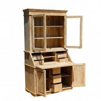 Escritorio de secretaria frontal abatible con estantería hecha de madera de mango