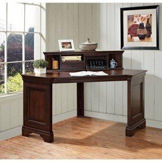 Muebles: pequeño escritorio de esquina con estante para ideas de espacio de trabajo