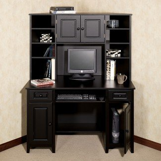 Muebles: escritorio de computadora de esquina con estante para ideas de espacio de trabajo