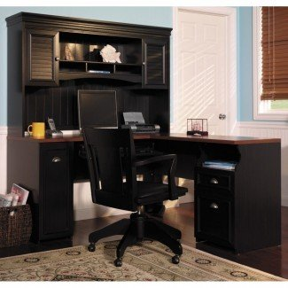 Escritorio de oficina para el hogar con estante pintado con color negro con