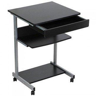 go2buy Escritorio / mesa compacta con ruedas para computadora portátil con cajones y estante para muebles de espacios pequeños