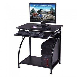 Escritorio para computadora Tangkula Oficina en casa de madera con bandeja extraíble para teclado para lugares pequeños Estación de trabajo para PC Muebles de oficina