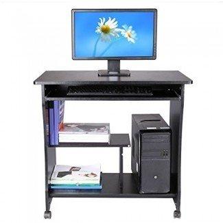 Ferty Computadora móvil Mesa de escritorio de madera, espacios pequeños con ruedas Estante de escritorio para computadora portátil con bandeja de teclado Soporte de cajón con ruedas para la estación de trabajo de estudio de oficina en casa [US STOCK]
