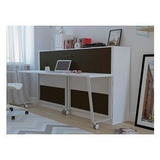 Stella Twin Murphy Cama con gabinete de almacenamiento | White, MDH