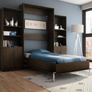 Muebles. Cama Murphy horizontal moderna de madera de tamaño gemelo ...