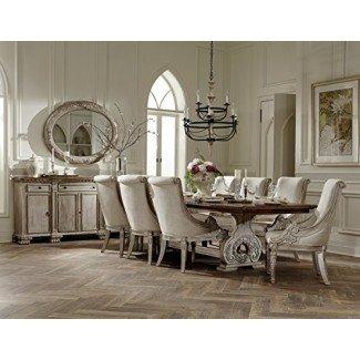 Muebles de comedor estilo francés Chatelet en blanco Vintage Wash con tapa marrón desgastada