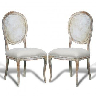 French Country Cane Round Back Chairs - blanco desgastado