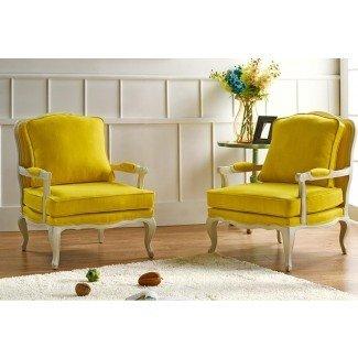 Sillas decorativas amarillas del país francés - Amante del diseño del hogar ...