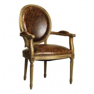 French Country Louis XVI Oval Back Leather Dining Arm ...