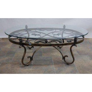 Mesa de centro. Mesa de centro de vidrio de hierro forjado - Hogar ...