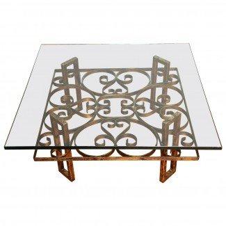 Mesa de centro cuadrada de hierro forjado dorado con motivo de desplazamiento ...