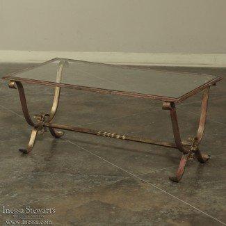 Mesa de centro antigua de hierro forjado y vidrio - Inessa Stewart