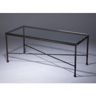 Mesa de centro. Mesa de centro de hierro forjado y vidrio - Hogar