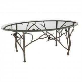 Mesa de centro ovalada de pino rústico