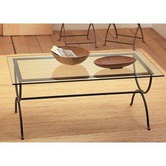 Mesa de centro: mesa de centro de hierro forjado negro con vidrio