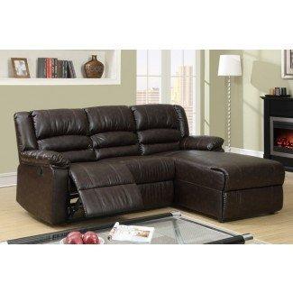 Pequeño sofá reclinable reclinable de cuero café ...