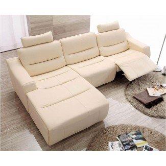 Sofás seccionales de cuero con sillones reclinables   Seccional de cuero ...