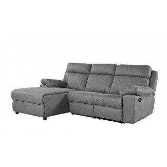 Sofá seccional reclinable clásico tradicional de espacio pequeño, sofá reclinable en forma de L