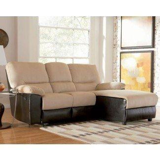 Sofá seccional pequeño con sillón reclinable  