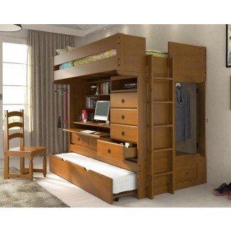 Cama alta de metal de tamaño completo con escritorio - Mejoras para el hogar