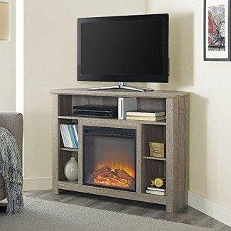 "W. Diseños 44 ""Wood Corner Highboy Fireplace TV Stand"