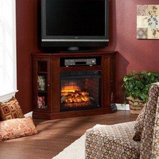 Southern Enterprises Claremont Corner Fireplace TV Stand en Cherry
