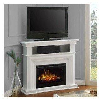 Soporte de TV Dimplex Colleen Corner con chimenea eléctrica en blanco