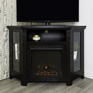 "WE Furniture 48 ""Corner Wood Fireplace TV Stand"