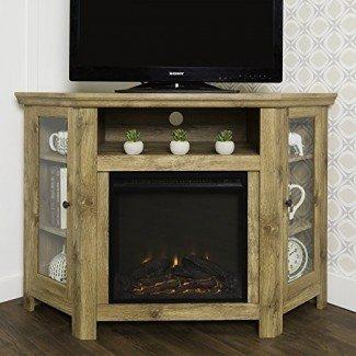 Nuevo soporte para TV con chimenea de 4 pies de ancho - Unidad de esquina de acabado Barnwood
