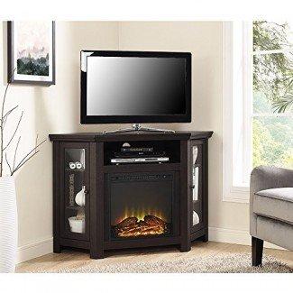 Nuevo soporte para TV con chimenea de 4 pies de ancho - Unidad de esquina con acabado en marrón oscuro
