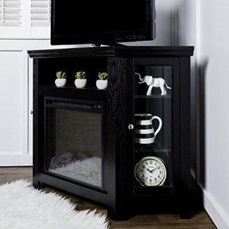 Nuevo soporte para TV de 4 pies de ancho con chimenea, unidad de esquina, acabado negro