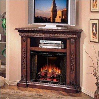 Combo de soporte de TV con chimenea eléctrica de esquina moderna: hogar ...