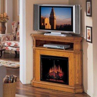 Muebles. Soporte de TV de esquina con chimenea eléctrica con estante ...