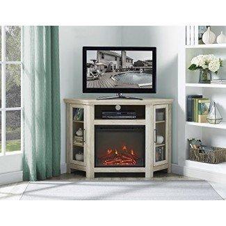 Nuevo soporte para televisor de chimenea de esquina ancha de 48 pulgadas en acabado de roble blanco