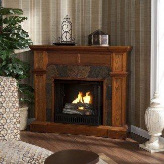 Muebles. TV de chimenea curvada y tallada de madera de cerezo ...