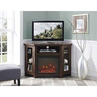 Nuevo soporte para televisor de chimenea de esquina ancha de 48 pulgadas en acabado tradicional marrón