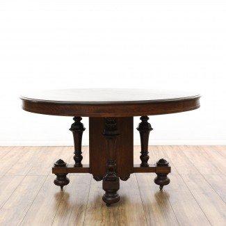 Mesa de comedor redonda antigua con ruedas | Loveseat ...